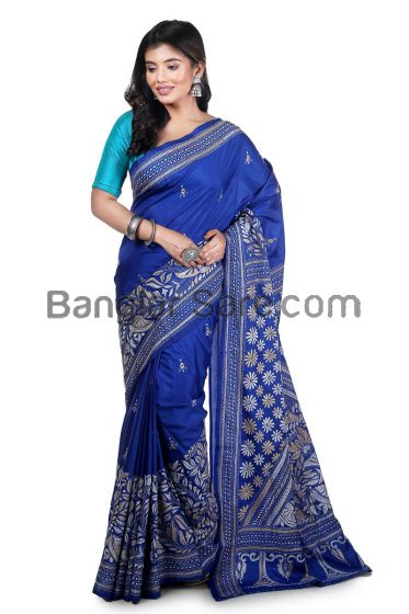 Stylist Pure Hand KanthaStitch ArtSilk Saree