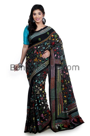 Art Silk Kantha Stitch Saree