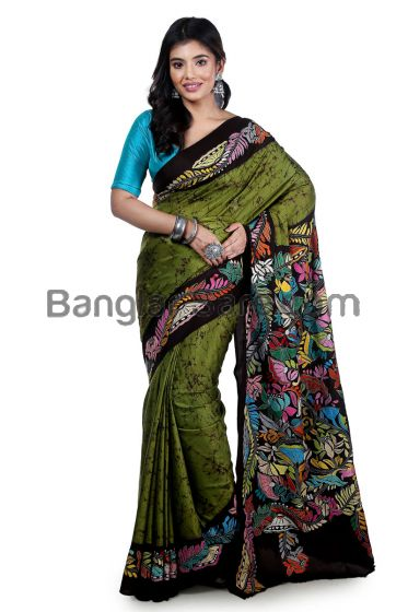 Silkmark Kantha Stitch Saree with Batik Work
