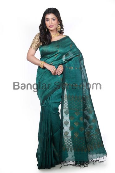 Trendy Handloom Linen Cotton Organic Saree
