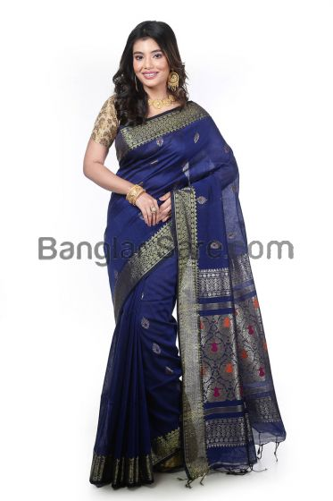 Linen Cotton Organic Handloom Saree
