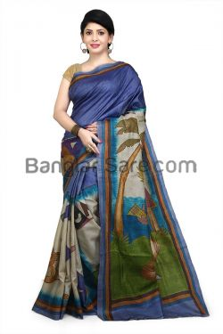 Purely Hand painted with Kanthastitch Saree