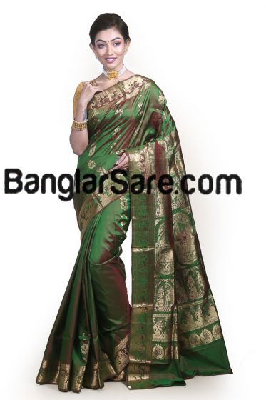 Ethnic Pure Bishnupur Silk Swarnachari Saree