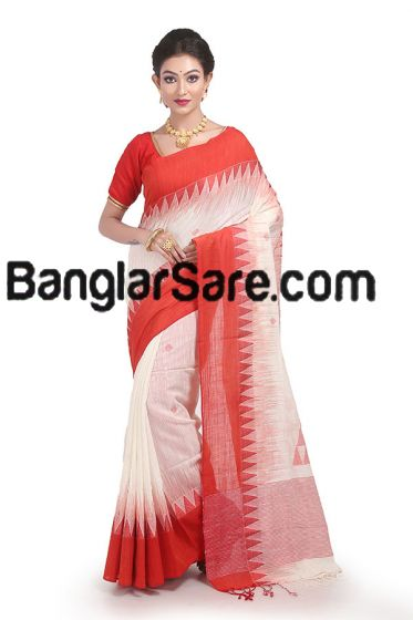 Red and white pure Bengali cotton saree
