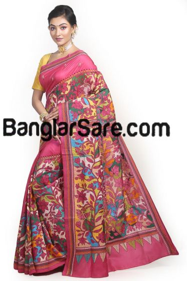 Pure Silk Multi Colour Katha Stitch Saree