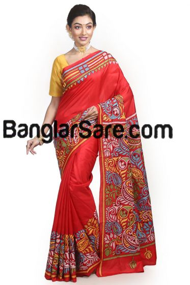 Gorgeous Red Pure Silk Kantha Saree