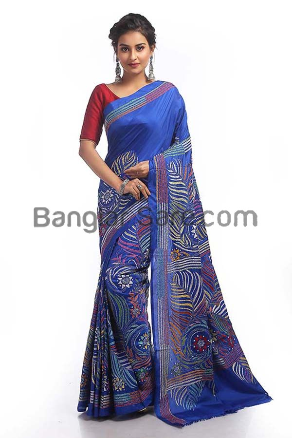 Art Silk Multicolour KanthaStitch Saree